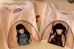 T-shirts com aplicações em tecido - Gorjuss Girls