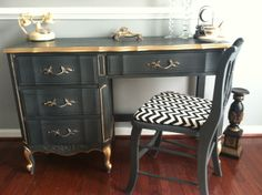 Sold/ Inspiration french provincial desk/vanity with accent chair. Hand painted with Annie Sloan graphite chalk paint trimed with gold wax. This find would look great in a home office or bedroom. By: Saunders Design