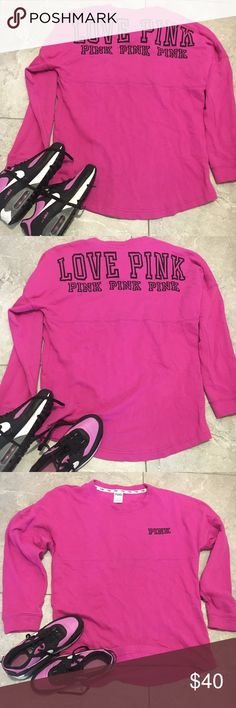 VICTORIA SECRET HOT PINK PULLOVER  This is a hot pink VS pullover that's oversized and very cozy. Just put on your tights and sneakers and go. Back reads LOVE PINK and pink 3x's. Front reads pink on left top in black letters... PINK Victoria's Secret Tops Sweatshirts & Hoodies