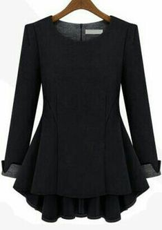 Long Sleeve Peplum Top, Long Sleeve Tops, Autumn T Shirts, Mode Hijab, Blouse Designs, Black Tops, Solid Black, Red Black, Blouses For Women