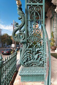 116 Broad Street, John Rutledge House, Charleston, South Carolina: 1763, 1853 ironwork by Christopher Werner