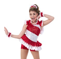 Being festive is fun in creative costumes like this sequined candy cane-striped piece by Creations by Cicci. #FashionFriday