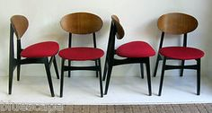 RETRO 1950S SET OF 4 DINING CHAIRS BY JENTIQUE