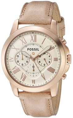 Fossil Q Grant Gen 1 Hybrid Sand Leather Smartwatch. Fashionable take on wearable tech-round 44 mm case in gold-tone featuring cream guilloche dial with Roman numeral indices, three chronograph subdials, and tan leather calfskin band with tonal topstitching and buckle closure. Compatible with all Fossil brand 22mm straps. Compatible with Android and iOS operating systems. Receive filtered LED color-coded notifications from contacts Track everything from steps to calories. Engineered with...