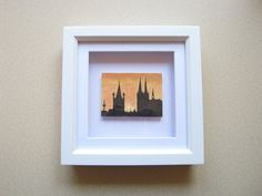 Miniature Framed Landscape Painting, City Skyline at Night Art, Cologne Cathedral Silhouette at Sunset, Cityscape, Church Painting, OOAK