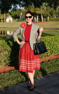 Red and Black, Linen Skirt and Houndstooth Blazer with Poppy Pin and Longchamp Rouseau Bag