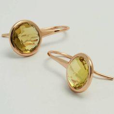 Orecchini in Argento 925 placcati Oro Rosa, Quarzo Golden Naturale - CRE04 - 45€ Spedizione Gratuita http://www.battiquore.it/shop/it/ravenna/140-cre04.html