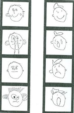 This is a an art lesson plan for little kids where students draw their emotions and mount them in a strip of little like a photo strip of silly faces. Use to tell a First, then, and, so story about why emotions changed. Kindergarten Art Lessons, Art Lessons Elementary, First Grade Art, Drawing Lessons, Drawing Art, Drawing Faces, Student Drawing, Ecole Art, Les Sentiments