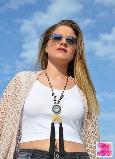 Gemstone necklace agate necklace tassel necklace by MarKiJewelry