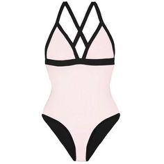 HEIDI KLEIN Reversible Triangle One Piece - Black & Pink ($180) ❤ liked on Polyvore featuring swimwear, one-piece swimsuits, triangle swimwear, strappy one-piece bathing suits, one piece swim suit, 1 piece bathing suits and strappy one-piece swimsuits