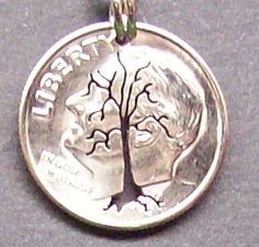Tree Dime Cut Coin Jewelry by bongobeads on Etsy, $9.95