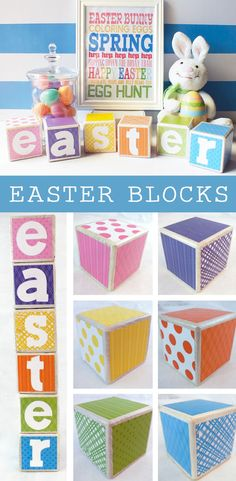 Our DIY Easter Blocks are an adorable Easter Decoration. We have step by step instructions on how to create these fun Easter Blocks using wood blocks, craft paper and Mod Podge.  For more Easter Craft Ideas follow us at https://www.pinterest.com/2SistersCraft/