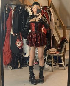 Betsey Johnson in corset and new rock boots