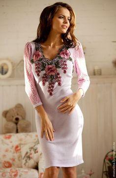 """Купить Платье """"Цветочная соната"""" - сиреневый, цветочный, вязаное платье, цветочное платье, ажурное платье"""