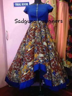 Kalamkari Dresses, Ikkat Dresses, Kalamkari Designs, Salwar Designs, Sari Blouse Designs, Fancy Blouse Designs, Indian Designer Outfits, Indian Outfits, Anarkali Dress