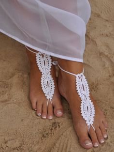 White Crochet Barefoot Sandals // perfect for a beach wedding