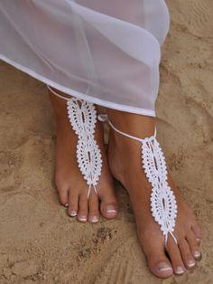 White Crochet Barefoot Sandals // perfect for a beach wedding