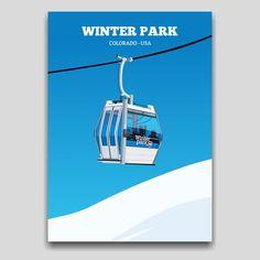 Winter Park, Colorado USA Ski resort poster artwork design by Cocographic  Available now at displate Winter Park Colorado, Colorado Usa, Artwork Design, Cool Artwork, Ski Sport, Print Artist, Skiing, Poster Prints, Metal