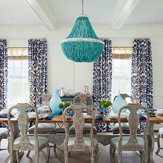 Trendsetter Amanda Nisbet chose color and texture with a purpose in this Hamptons dining room. | Coastalliving.com