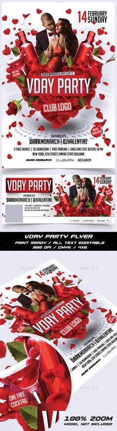Valentine Day Party Flyer Template PSD #design Download: http://graphicriver.net/item/valentine-day-party-flyer/14291227?ref=ksioks