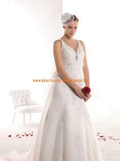 Mollige Brautkleider 2014 aus Satin A-Linie mit Schleppe