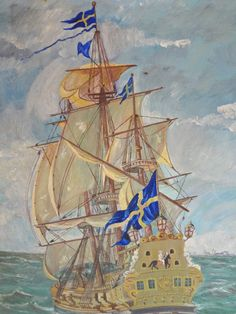 Folk Art Oil on Board Fanciful SHIP Flying Swedish Flag Signed Dated 1945...I LOVE this painting. I don't know why. It looks like something a small boy would have on his wall.