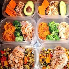 "(1) Grilled chicken, sweet potato and 1/2 avocado.  (2) Grilled chicken & Spaghetti Squash ""Pasta"" with tomato sauce (or diced tomatoes) and steamed or roasted broccoli (3) Grilled chicken and coconut oil roasted veggies including eggplant, bell peppers, #zucchini, and yellow peppers roasted."