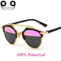 d04d92c18b BOYEDA Fashion Flat Top Rihanna Luxury Sunglasses Women Brand Designer  Polarized Retro Cat Eye Metal Frame Mirror Sun Glasses