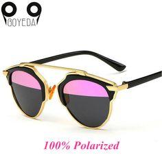 39f49ebfee BOYEDA Fashion Flat Top Rihanna Luxury Sunglasses Women Brand Designer  Polarized Retro Cat Eye Metal Frame Mirror Sun Glasses. 2016 new ...