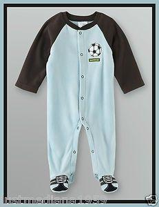 NWT- Cute Baby Boys Light Blue Fleece Sleep Play Pajamas Soccer - SZ - 0-3 mo - Sold May 4, 2013