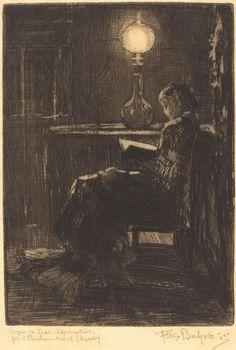 felix hilaire buhot liseuse a la lampe woman reading by lamplight 1879 ..