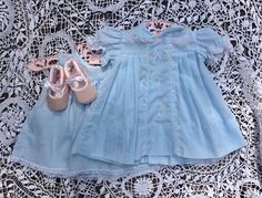 Baby dress and slip Castro vintage baby girl set pale blue