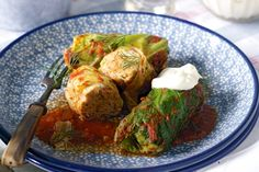 golabki (polish cabbage rolls) - savoy cabbage, White Medium Grain Rice, onions, finely chopped, paprika, caraway seeds, fresh marjoram, pork mince, passata (tomato pasta sauce), dill sprigs, Sour cream