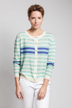 True stripes. Asneh cashmere and silk cardigan SS2016