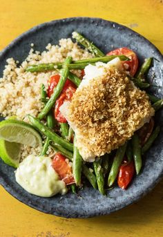 "Easy Panko-Crusted Cod with Wasabi Aioli, Quinoa, and Green Bean Tomato Sauté recipe | Try HelloFresh today with code ""HelloPinterest"" and receive $25 off your first box."