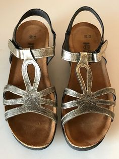 NAOT Womens Pewter Gray Leather Comfort Sandals Size 39 L8 8 Made In Isarel #Naot #Comfort