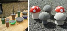 Backyard And Garden Ideas For Kids. Garden Yard Ideas, Diy Garden Projects, Garden Crafts, Diy Garden Decor, Diy Craft Projects, Cement Art, Concrete Art, Concrete Garden, Mushroom Crafts
