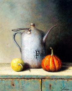 by Willie Berkers (artist) Romantic Paintings, Beautiful Paintings, Painting Still Life, Still Life Art, Hyper Realistic Paintings, Still Life Images, Fruit Painting, Watercolor Cards, Kitchen Art