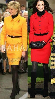 The British Royal Family Fashion Fan Art: Princess Diana and Duchess Catherine Princesa Diana, Diana Fashion, Royal Fashion, Looks Kate Middleton, Princesse Kate Middleton, Pantyhosed Legs, Kate And Meghan, Prince William And Kate, William Kate