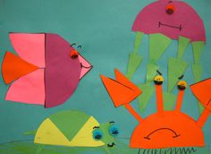 I am always looking for ways to incorporate other curriculum areas into the art lessons. So when I stumbled upon this idea for fraction fish on Mrs. Brown's Art webpage I was excited. Math Art, Fun Math, Fraction Art, Fraction Activities, Math Games, Fish Collage, Ocean Projects, Art Projects, Math Fractions