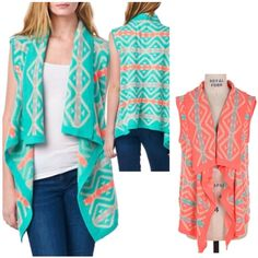 Introducing this season's NEWEST trend! When VEST meets CARDI!!!  http://www.brandisboutiqueshop.co/item_2345/Mint-Coral-Aztec-Sleeveless-Cardi.htm.