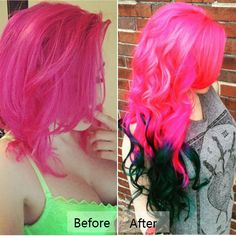 Incredible bright pink red hair color with dark green, brave hair color match show Colored Hair Extensions, Clip In Hair Extensions, Red Hair Color, Hair Colors, Hair Extensions Before And After, Healthy Hair Tips, Colourful Hair, Crazy Colour, Crazy Hair