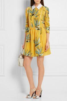 FENDI | Multicolored  cotton-blend jacquard mini dress and label's sandals + LANVIN | Shoulder bag.