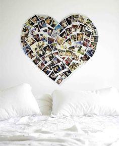 Coração foto da parede em forma de ele e ela juntos. Não faria sobre a cama, mas seria bonito em algum lugar!