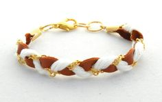 Brown Gold and White Braided Bracelet