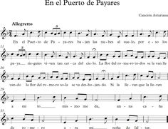 En el Puerto de Payares. Canción Tradicional Asturiana. Musical, Sheet Music, Folklore, World, Learning, Songs, Reading, Music Sheets