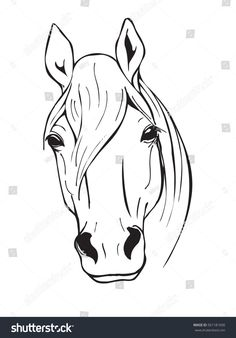 horse head, farm animal, black and white vector illustration in graphic style Horse Head Drawing, Horse Drawings, Animal Drawings, Animals Black And White, Black And White Drawing, Black White, Clipart Black And White, Horse Stencil, Horse Tattoo Design