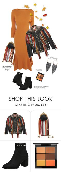 """""""Fringe Benefits'"""" by dianefantasy ❤ liked on Polyvore featuring Karen Millen, Gucci, MAC Cosmetics, Humble Chic, polyvorecommunity, polyvoreeditorial and statementbags"""