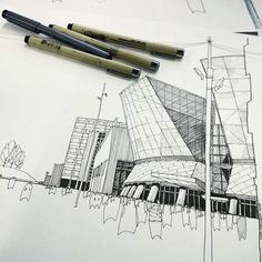 One of my favourite shopping centres near the place I live Metropolis a free hand drawing of mine. .  #architecture #shoppingcenter #moscow_in_sketches #archilovers #sketch #metropolis #moscow #drawing #sketchinprogress by mysquiggles