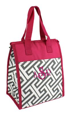 Back to school classic lunch tote with the Greek key pattern fabric. Vinyl insulated for cold or hot lunches. Monogram included from Simply Bags. Fabric Patterns, Sewing Patterns, Pink White, Hot Pink, Lunch Tote, Greek Key, Gym Bag, Reusable Tote Bags, Monogram